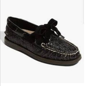 SPERRY | RARE black glitter loafers 6.5